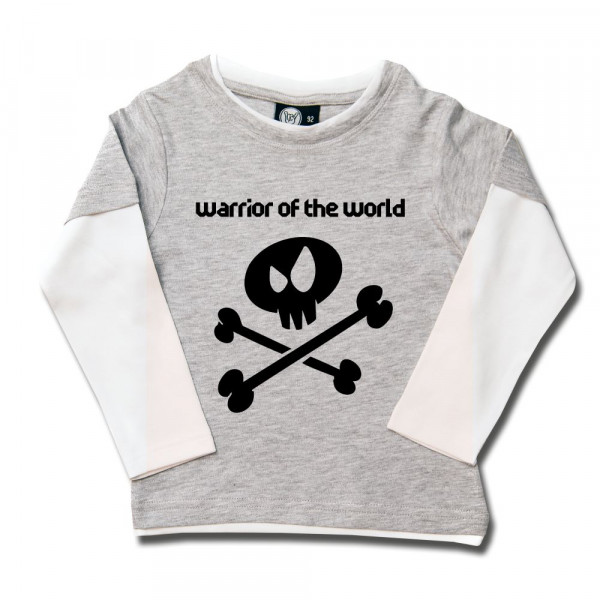 warrior of the world Kids Skater Shirt mit Aufdruck in schwarz auf Metal-Kids Markenware