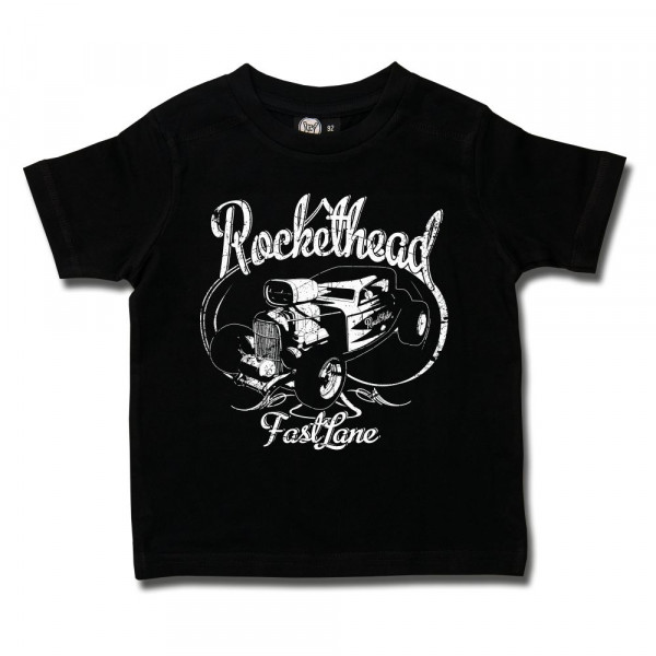 Road Rodeo (Rockethead) Kids T-Shirt mit Aufdruck in weiß auf Metal-Kids Markenware