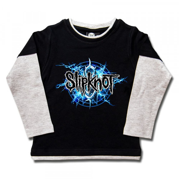 Slipknot (Electric Blue) Kids Skater Shirt mit Aufdruck in multicolor auf Metal-Kids Markenware