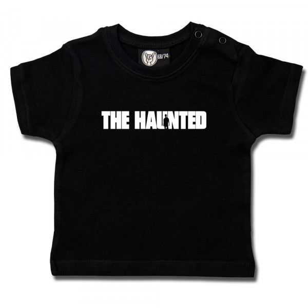 The Haunted (Logo) Baby T-Shirt mit Aufdruck in weiß auf Metal-Kids Markenware