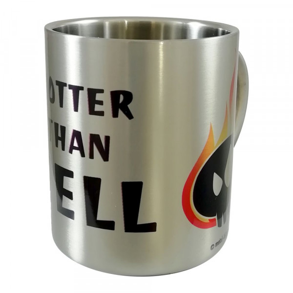 Hotter than hell Metall-Becher mit Aufdruck in multicolor auf Metal-Kids Markenware