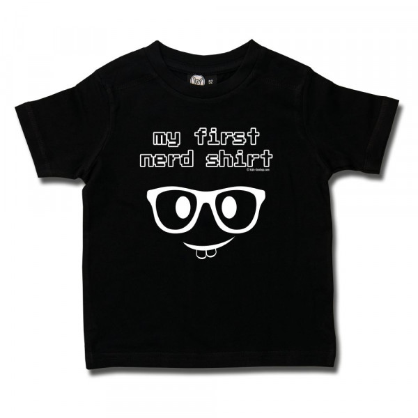 my first nerd shirt Kids T-Shirt mit Aufdruck in weiß auf Metal-Kids Markenware