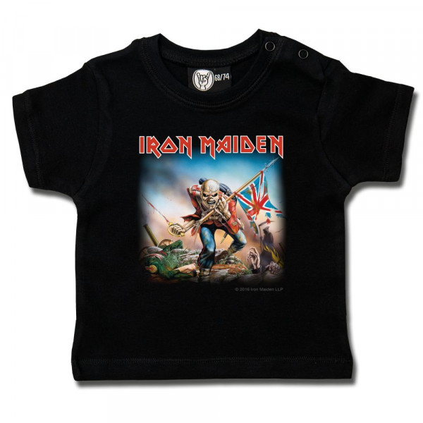 Iron Maiden (Trooper) Baby T-Shirt mit Aufdruck in multicolor auf Metal-Kids Markenware