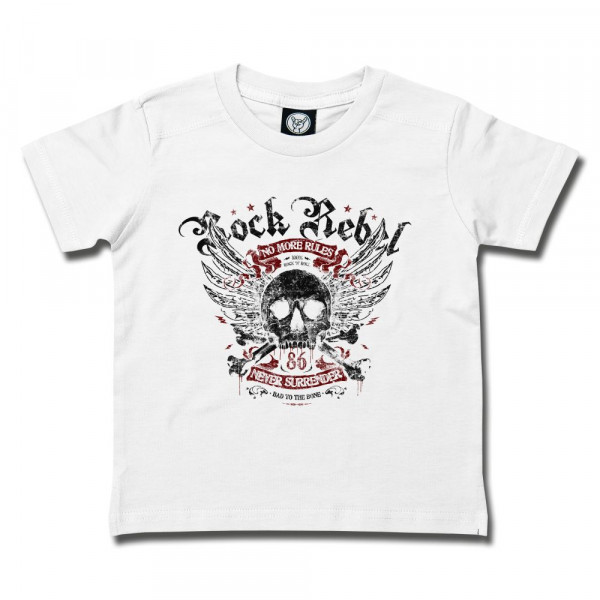 Rock Rebel (Never Surrender) Kids T-Shirt mit Aufdruck in multicolor auf Metal-Kids Markenware