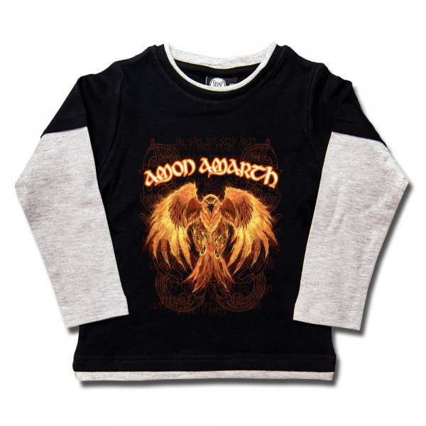 Amon Amarth (Burning Eagle) Kids Skater Shirt mit Aufdruck in multicolor auf Metal-Kids Markenware