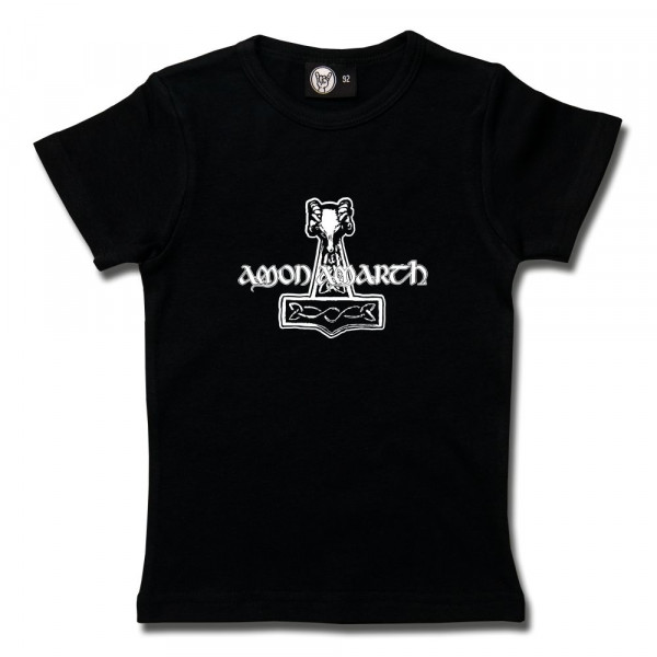 Amon Amarth (Thors Hammer) Girly Shirt mit Aufdruck in weiß auf Metal-Kids Markenware