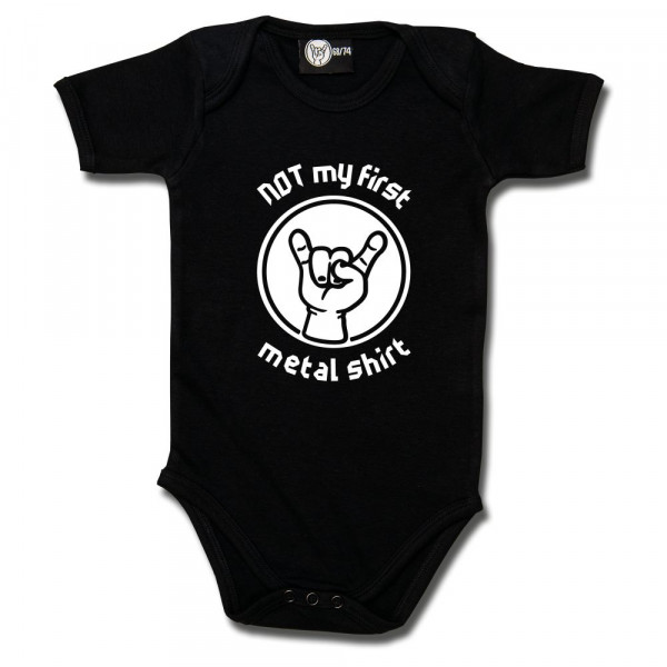 NOT my first metal shirt Baby Body mit Aufdruck in weiß auf Metal-Kids Markenware