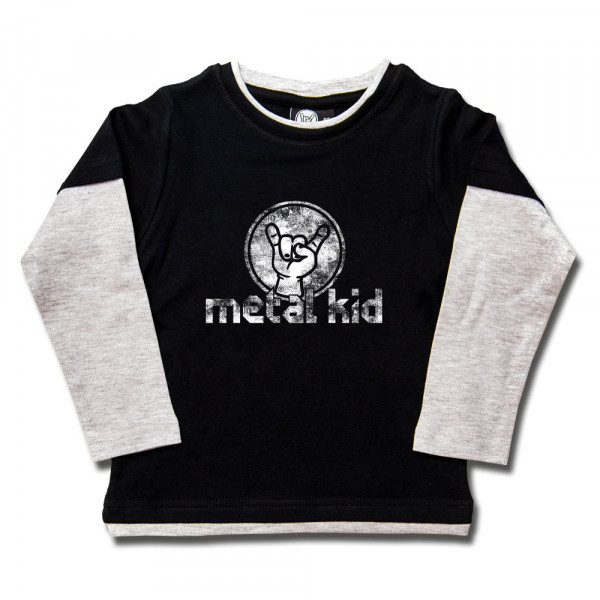 metal kid (Vintage) Kids Skater Shirt mit Aufdruck in weiß auf Metal-Kids Markenware