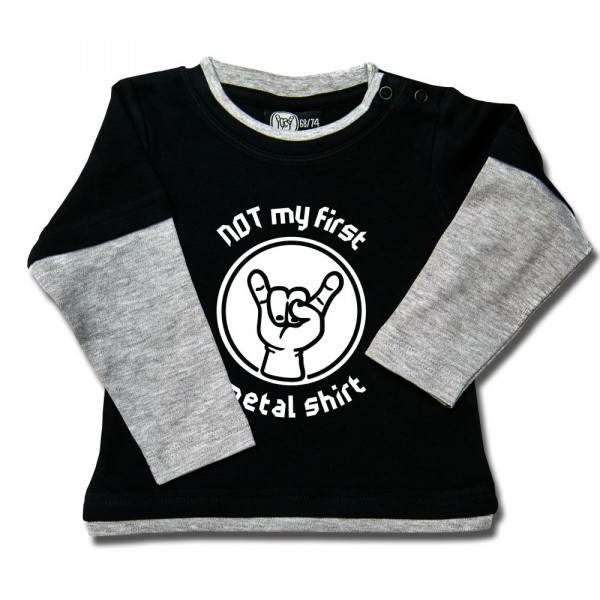 NOT my first metal shirt Baby Skater Shirt mit Aufdruck in weiß auf Metal-Kids Markenware