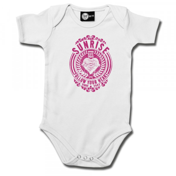 Sunrise Avenue (Follow Your Heart) Baby Body mit Aufdruck in pink auf Metal-Kids Markenware