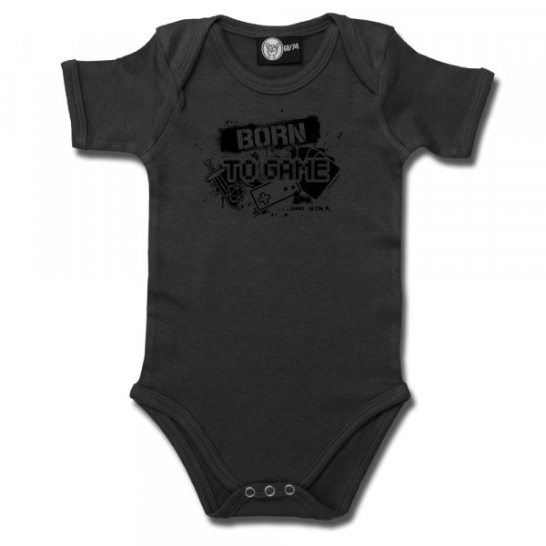 Born to Game Baby Body mit Aufdruck in schwarz auf Metal-Kids Markenware