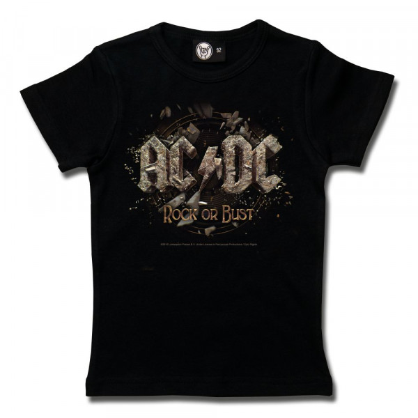 AC/DC (Rock or Bust) Girly Shirt mit Aufdruck in multicolor auf Metal-Kids Markenware