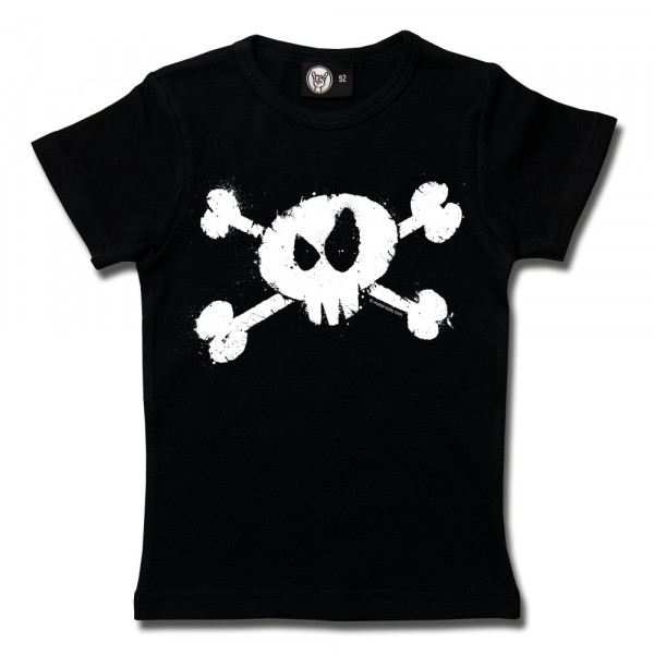 Splashed Skull Girly Shirt mit Aufdruck in weiß auf Metal-Kids Markenware