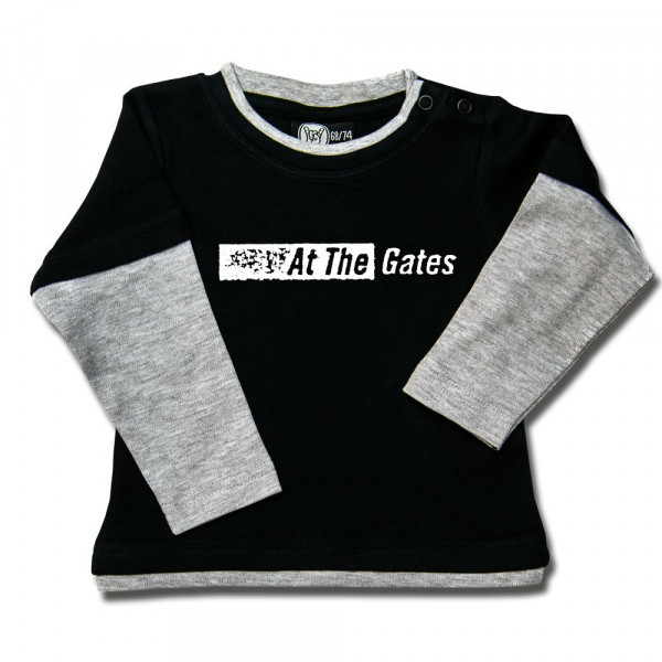 At the Gates (Logo) Baby Skater Shirt mit Aufdruck in weiß auf Metal-Kids Markenware