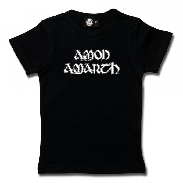 Amon Amarth (Logo) Girly Shirt mit Aufdruck in weiß auf Metal-Kids Markenware