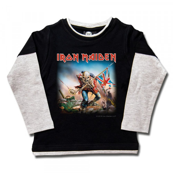 Iron Maiden (Trooper) Kids Skater Shirt mit Aufdruck in multicolor auf Metal-Kids Markenware