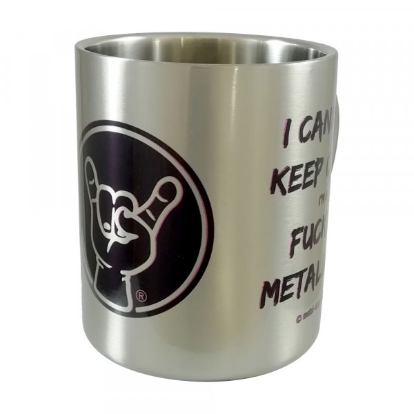 I can NOT keep calm… Metall-Becher mit Aufdruck in schwarz auf Metal-Kids Markenware