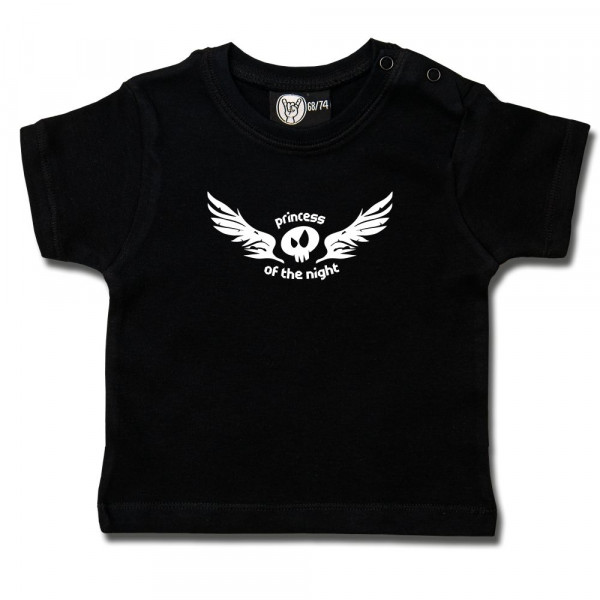 princess of the night Baby T-Shirt mit Aufdruck in weiß auf Metal-Kids Markenware