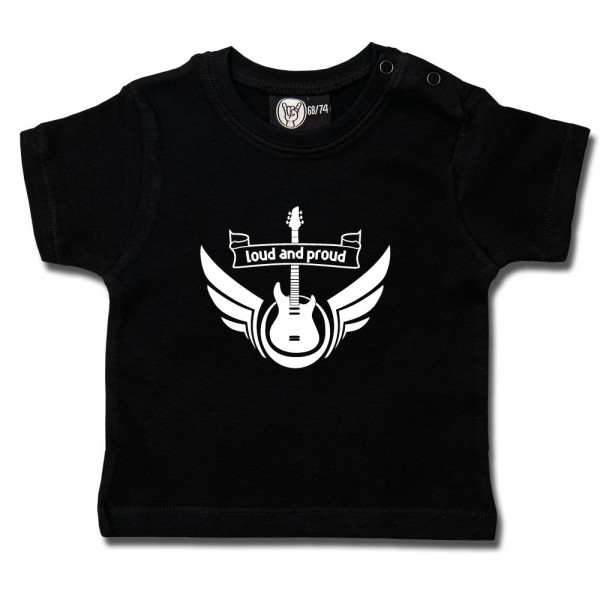 loud and proud Baby T-Shirt mit Aufdruck in weiß auf Metal-Kids Markenware