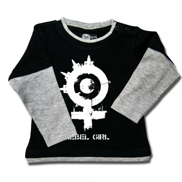 Arch Enemy (Rebel Girl) Baby Skater Shirt mit Aufdruck in weiß auf Metal-Kids Markenware