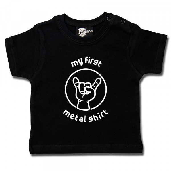 my first metal shirt (invers) Baby T-Shirt mit Aufdruck in weiß auf Metal-Kids Markenware