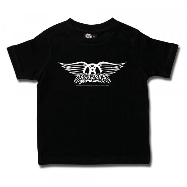 Aerosmith (Logo Wings) Kids T-Shirt mit Aufdruck in weiß auf Metal-Kids Markenware