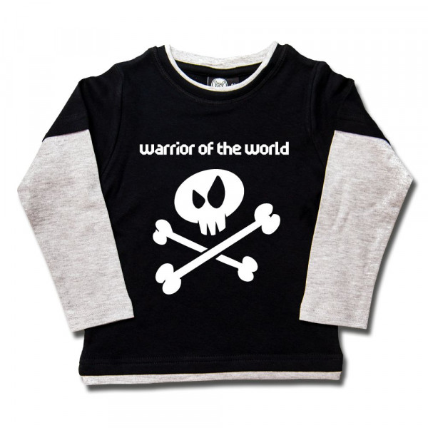 warrior of the world Kids Skater Shirt mit Aufdruck in weiß auf Metal-Kids Markenware
