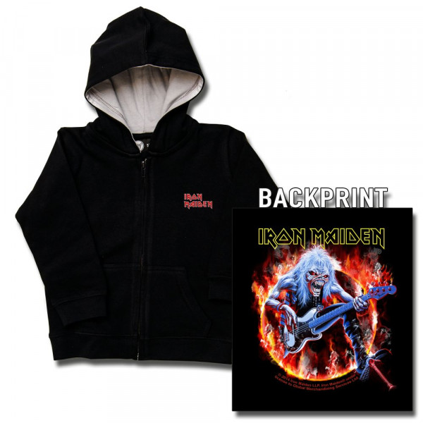 Iron Maiden (Fear Live Flame) Kids Kapuzenjacke mit Aufdruck in multicolor auf Metal-Kids Markenware