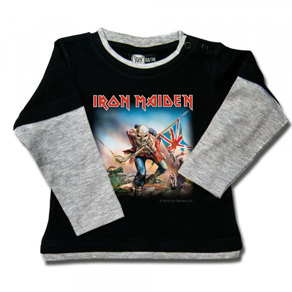 Iron Maiden (Trooper) Baby Skater Shirt mit Aufdruck in multicolor auf Metal-Kids Markenware