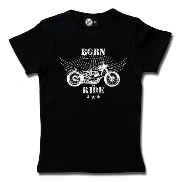 born to ride Girly Shirt mit Aufdruck in weiß auf Metal-Kids Markenware