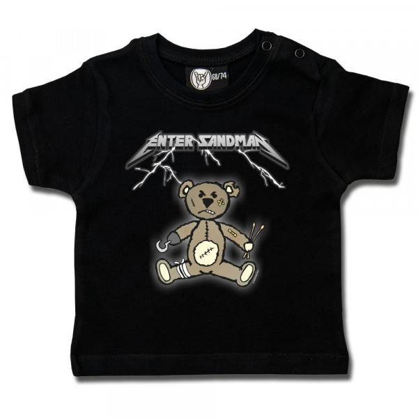 Enter Sandman (Metallica Tribute) Baby T-Shirt mit Aufdruck in multicolor auf Metal-Kids Markenware
