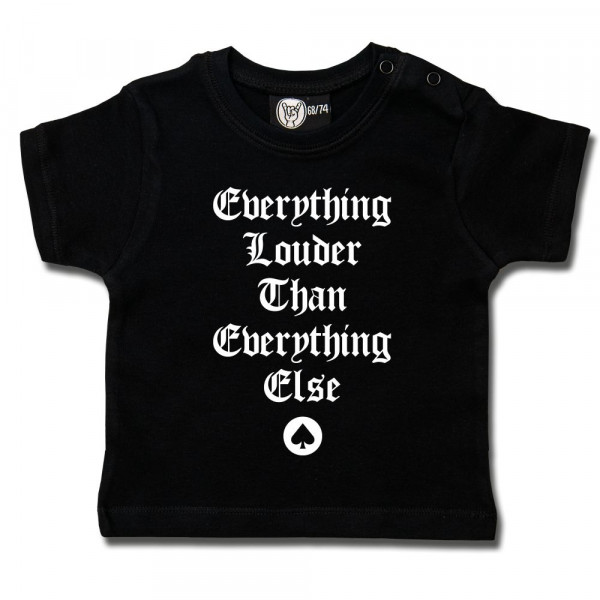 Motörhead (Everything Louder…) Baby T-Shirt mit Aufdruck in weiß auf Metal-Kids Markenware