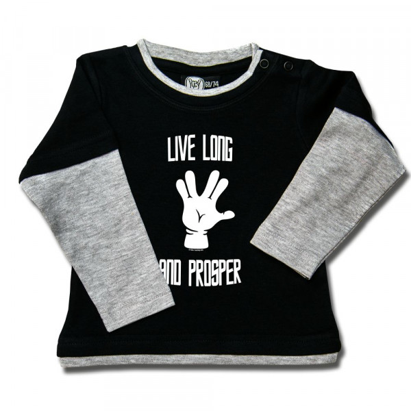 Live Long and Prosper Baby Skater Shirt mit Aufdruck in weiß auf Metal-Kids Markenware
