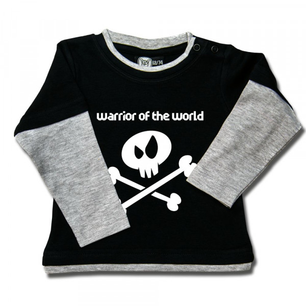 warrior of the world Baby Skater Shirt mit Aufdruck in weiß auf Metal-Kids Markenware