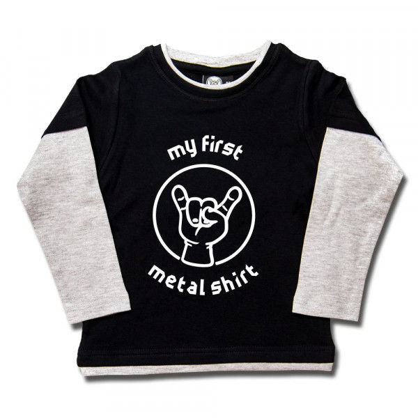 my first metal shirt (invers) Kids Skater Shirt mit Aufdruck in weiß auf Metal-Kids Markenware