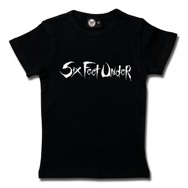 Six Feet Under (Logo) Girly Shirt mit Aufdruck in weiß auf Metal-Kids Markenware
