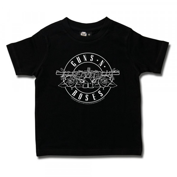 Guns 'n Roses (Bullet - outline) Kids T-Shirt mit Aufdruck in weiß auf Metal-Kids Markenware