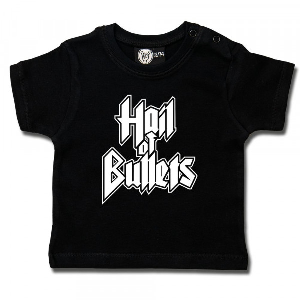 Hail of Bullets (Logo) Baby T-Shirt mit Aufdruck in weiß auf Metal-Kids Markenware