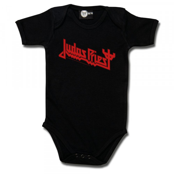 Judas Priest (Logo) Baby Body mit Aufdruck in rot auf Metal-Kids Markenware