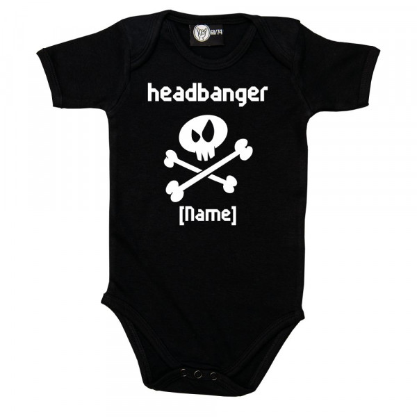headbanger [NAME] Baby Body mit Aufdruck in weiß auf Metal-Kids Markenware