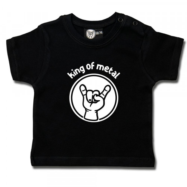 king of metal Baby T-Shirt mit Aufdruck in weiß auf Metal-Kids Markenware
