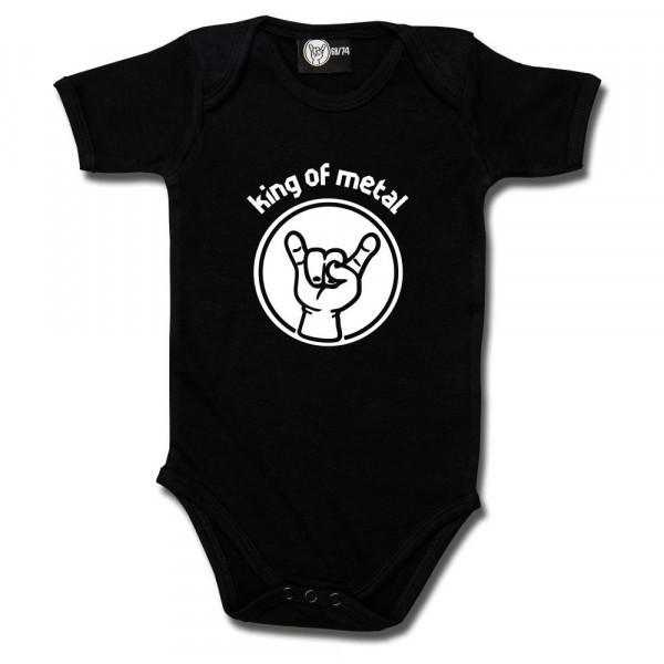 king of metal Baby Body mit Aufdruck in weiß auf Metal-Kids Markenware