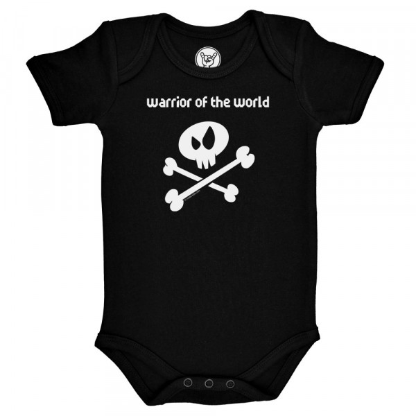 warrior of the world Baby Body mit Aufdruck in weiß auf Metal-Kids Markenware