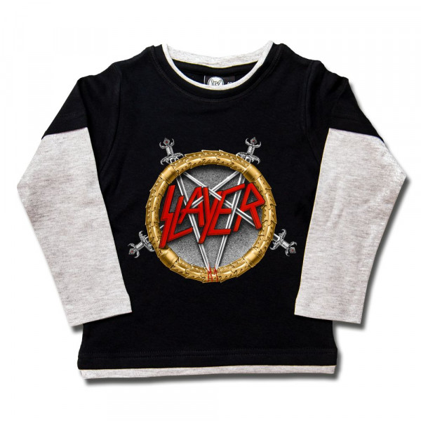 Slayer (Pentagram) Kids Skater Shirt mit Aufdruck in multicolor auf Metal-Kids Markenware