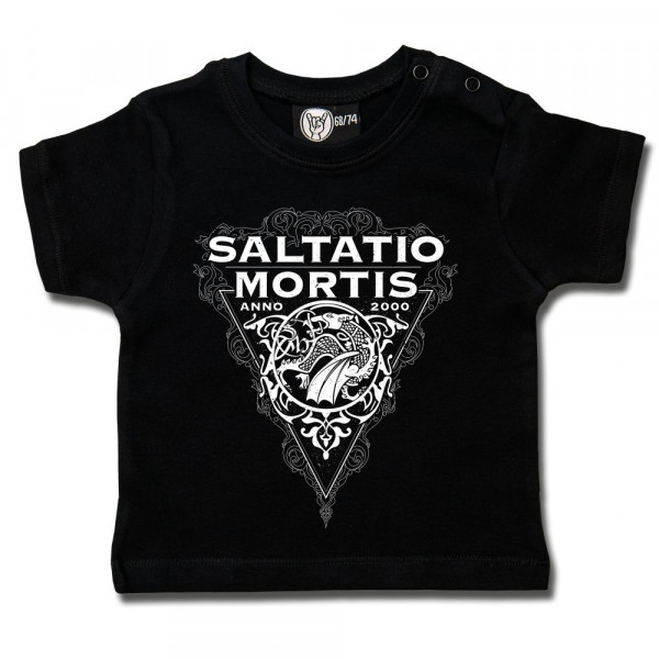Saltatio Mortis (Dragon Triangle) Baby T-Shirt mit Aufdruck in weiß auf Metal-Kids Markenware