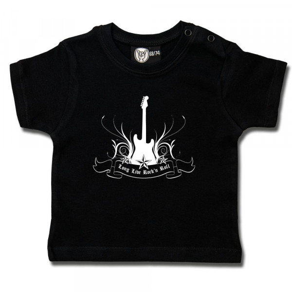 long live Rock 'n Roll Baby T-Shirt mit Aufdruck in weiß auf Metal-Kids Markenware