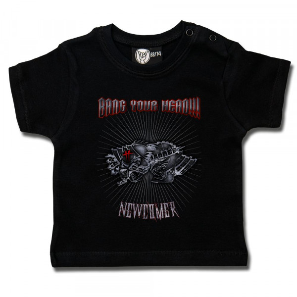 Bang your Head (Newcomer) Baby T-Shirt mit Aufdruck in multicolor auf Metal-Kids Markenware