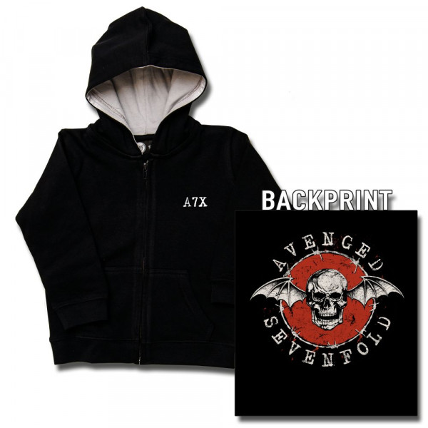 Avenged Sevenfold (New Deathbat) Baby Kapuzenjacke mit Aufdruck in multicolor auf Metal-Kids Markenware