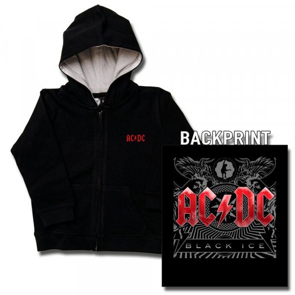 AC/DC (Black Ice) Baby Kapuzenjacke mit Aufdruck in multicolor auf Metal-Kids Markenware