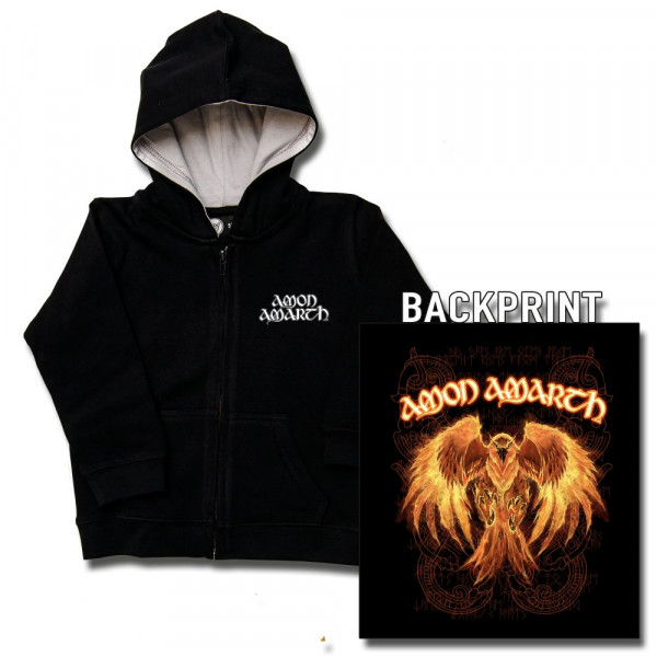 Amon Amarth (Burning Eagle) Baby Kapuzenjacke mit Aufdruck in multicolor auf Metal-Kids Markenware